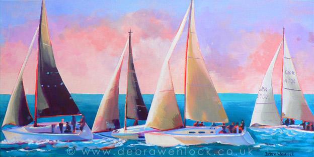 Yacht Race at Ballyholme by Debra Wenlock