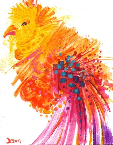 Boxing Day Exotic Fantasy Bauble Bird by Debra Wenlock