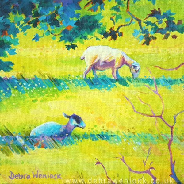 Light and Shade the Sunshine Sheep, acrylic painting by Debra Wenlock