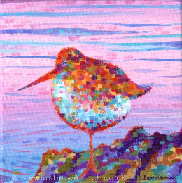 Pointillist Percy the Purple Sandpiper painting by Debra Wenlock