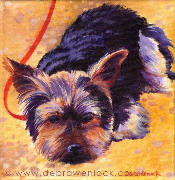 Yawn the Yorkie, Puppy Portrait Painting by Debra Wenlock