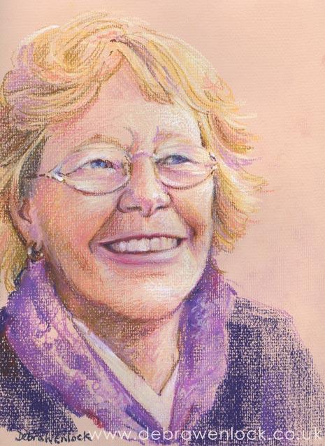 Auntie Jean, oil pastel portrait by Debra Wenlock