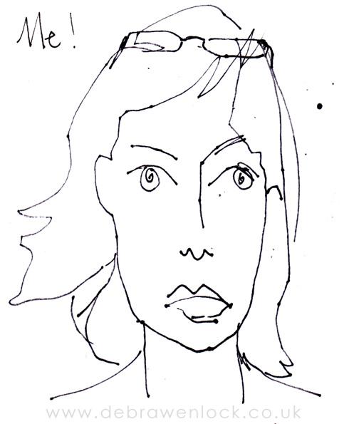 Blind Contour Self Portrait Sketch, Debra Wenlock