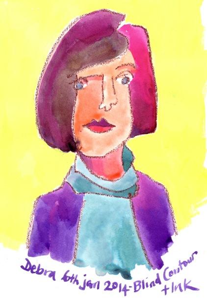 Blind Contour Self-Portrait by Debra Wenlock
