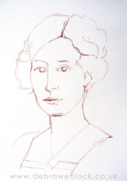 Lady Edith, Downton portrait sketch by Debra Wenlock