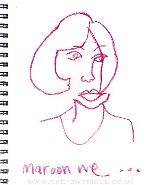 Maroon-Me, Self Portrait Blind Contour, Debra Wenlock
