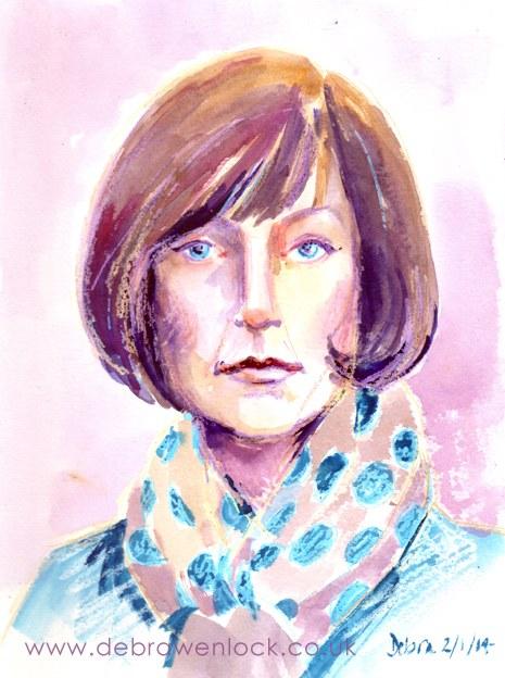 Selfie Portrait Wax & Watercolour Debra Wenlock
