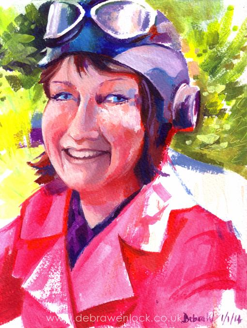Self Portrait with flying hat & goggles, acrylic painting by Debra Wenlock