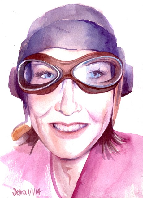 Watercolour Self Portrait with flying hat & goggles, Debra Wenlock