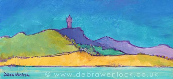 Scrabo Tower View across Strangford Lough, acrylic painting by Debra Wenlock