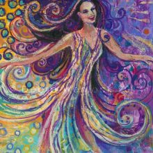Wild Dancing Woman, Imelda May inspired acrylic painting by Debra Wenlock