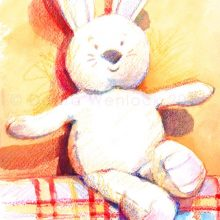 Bunny Toy Painting, wax crayon and watercolour by Debra Wenlock