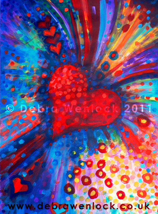 "Big Bold Colour Bursting Heart acrylic painting ""Opening the Heart"" by Debra Wenlock"