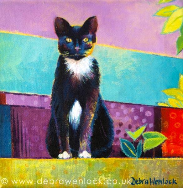 """The Monochrome Cat"" acrylic cat painting by Debra Wenlock"