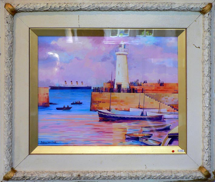 "Titanic Framed Painting ""Well-Wishers at Donaghadee"" by Debra Wenlock"