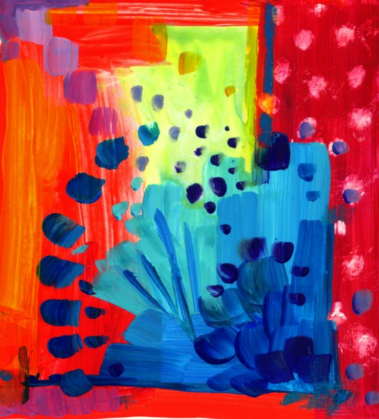 """""""Vermillion Lime"""" Playtime with Colour acrylic painting"""