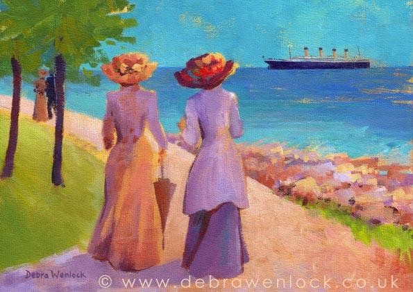 Passing Pickie - Titanic Greetings Card by Debra Wenlock
