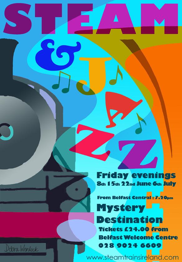 Railway Preservation Society of Ireland Steam and Jazz Poster 2012 by Debra Wenlock