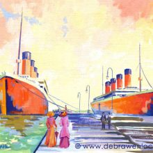 Sisters, Olympic and Titanic Greetings Card