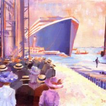"Titanic Launch Day Painting - ""Ladies who Launch"" by Debra Wenlock"
