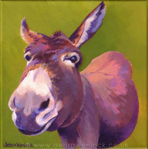 Dancer the Donkey acrylic painting by Debra Wenlock