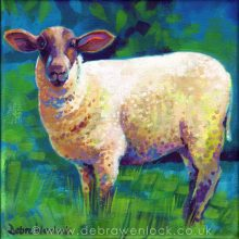 """Ewe Looking at Me?"" acrylic painting by Debra Wenlock"