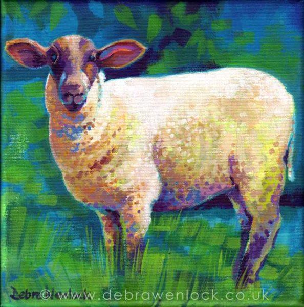 """""""Ewe Looking at Me?"""" acrylic painting by Debra Wenlock"""