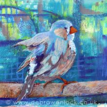 Zebra Finch painting in acrylic & oil pastel, the littlest birds sing the prettiest songs by Debra Wenlock