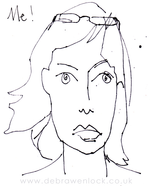 Blind Contour Self Portrait Sketch, Debra Wenlock