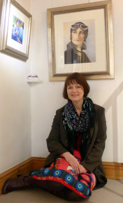 Debra Wenlock with 'Mrs Elsie Wisdom' at The Art of Motoring exhibition