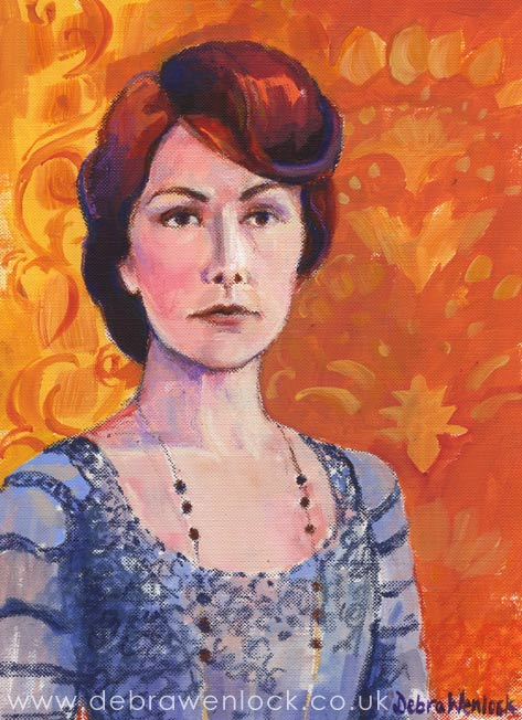 Lady Mary Crawley, acrylic & oil pastel