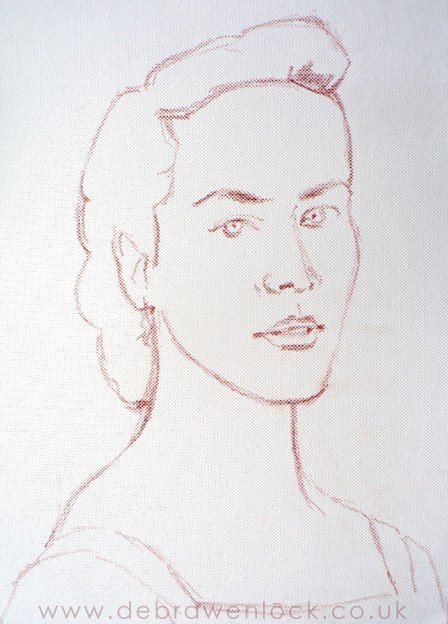 Lady Sybil, Downton portrait sketch by Debra Wenlock
