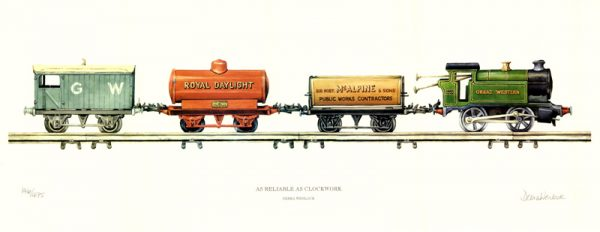 As Reliable as Clockwork Tinplate Railway Print by Debra Wenlock