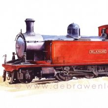 """Blanche"" Donegal tank loco, CDR tank locomotive, watercolour by Debra Wenlock"