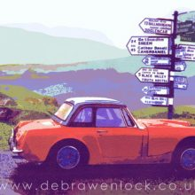 Decision Time, Rally MG Midget screenprint by Debra Wenlock