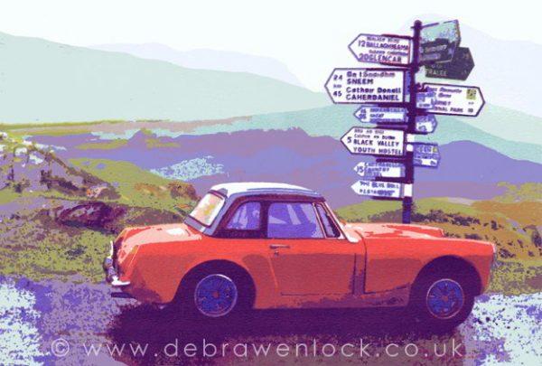 Decision Time, Rally MG Midget screenprint by Debra Wenlock