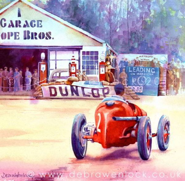 Alfa Romeo at Cork Grand Prix, Charles Martin, 3rd place 1937, watercolour painting by Debra Wenlock