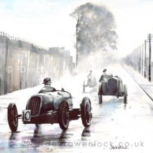 Alta, Ford, MG at 1937 Cork Grand Prix ink & watercolour painting by Debra Wenlock