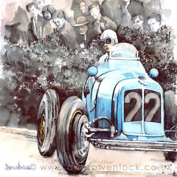 "Prince Bira's Cork Win - 1938 ""Bira's Voiturette Victory"" - watercolour painting by Debra Wenlock"