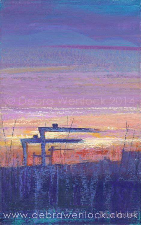 Belfast Cranes painting in acrylic by Debra Wenlock
