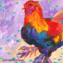 Big Boots were Made for Walking... rooster painting by Debra Wenlock