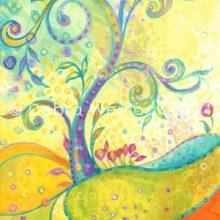 Fantasy Treescape, fantasy landscape acrylic painting by Debra Wenlock