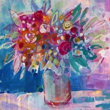 Flowers painting with Love acrylic painting by Debra Wenlock