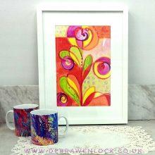 Funky Floral framed painting by Debra Wenlock