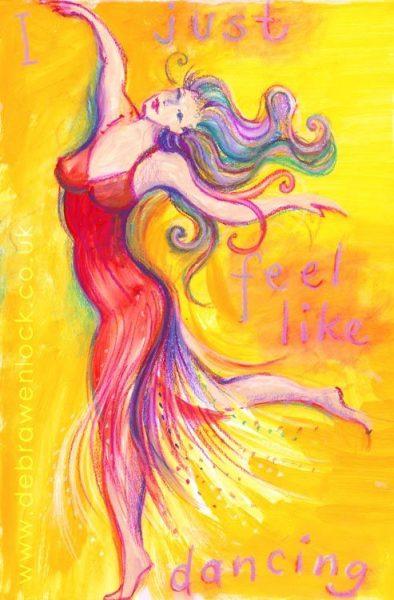 I just feel like Dancing, acrylic & pastels by Debra Wenlock
