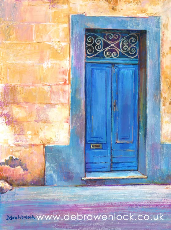 Maltese Doorway, acrylic painting by Debra Wenlock
