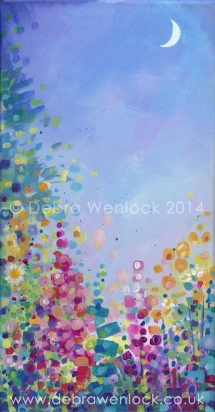 Moonlight Garden, acrylic painting by Debra Wenlock