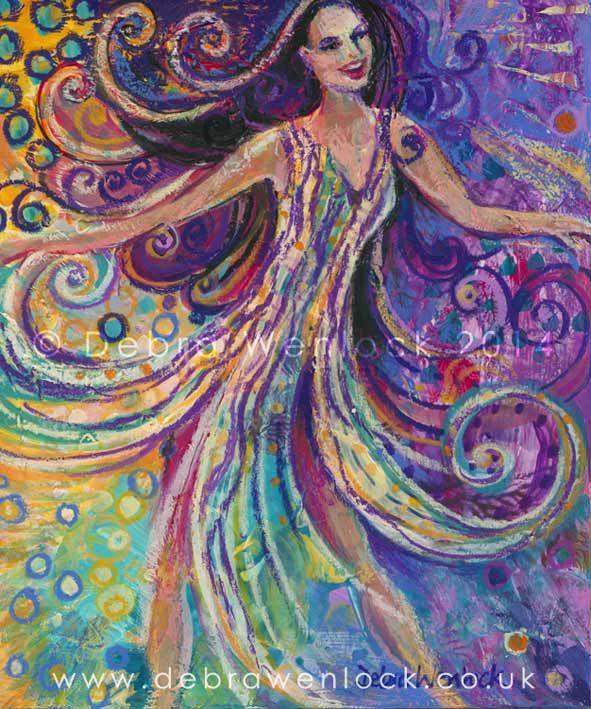 Wild Dancing Woman, Imelda May inspired acrylic painting by Debra Wenlock