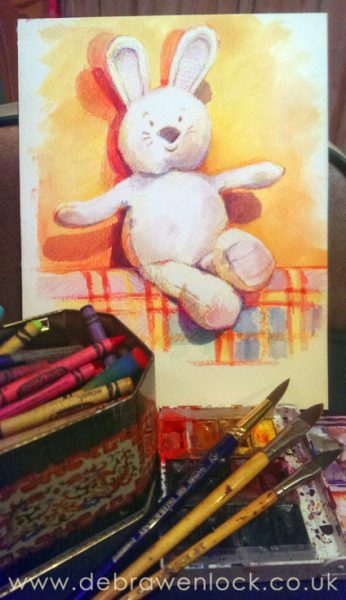 Bunny Toy Painting with wax crayons, watercolours & brushes