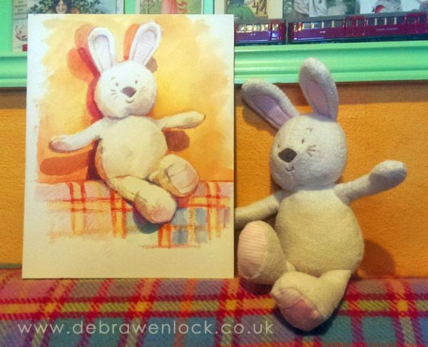 Bunny with Toy Portrait Painting
